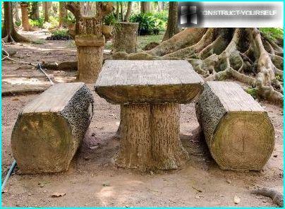 Tavolo e panche di tronchi