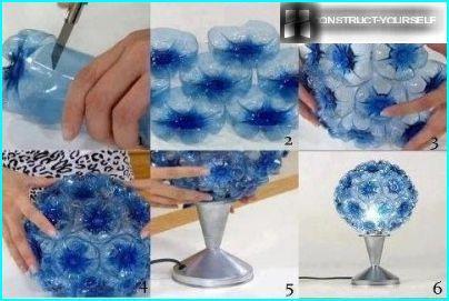 Blå lampe fra en plastflaske