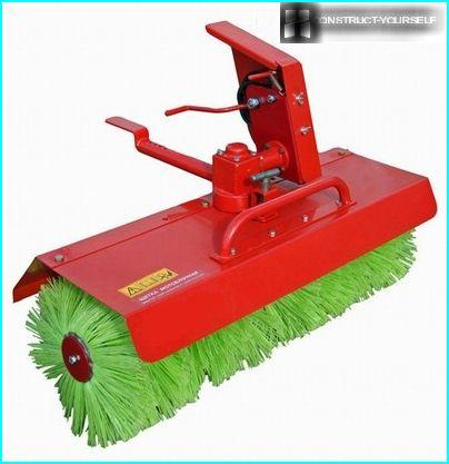 Hard brush for walk-behind tractor for snow removal