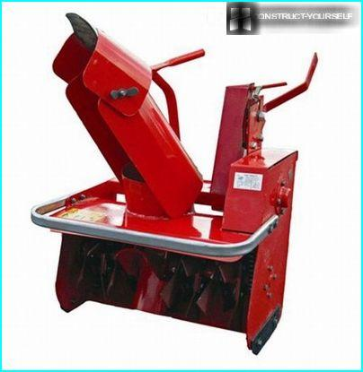 The hinged snow plow for walk-behind rotary type