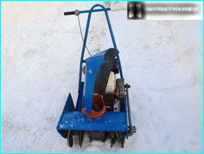 Kind of a homemade snow plow, equipped with an engine from walk-behind