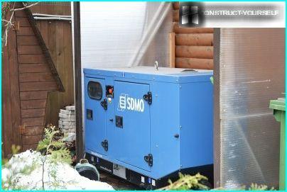 Diesel generator in the yard
