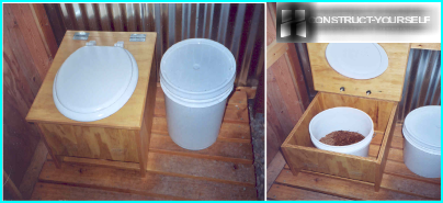 A composting toilet and a bucket for peat