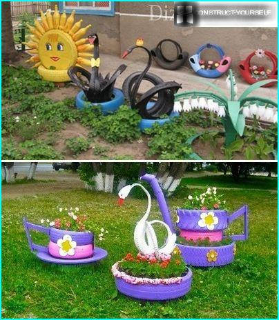 Elegant decoration for garden from tires