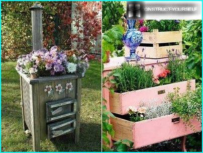 Gorgeous flower garden out of old cabinets