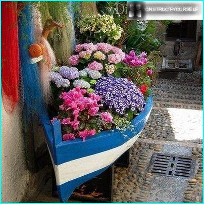 Decorative planters from old boats