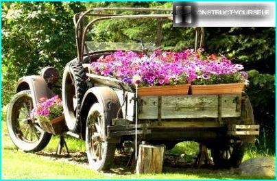 Automašīnu rotāšana ar ziediem traukos