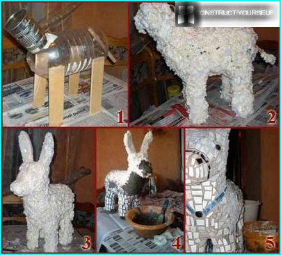 The stages of the creation of donkey from foam